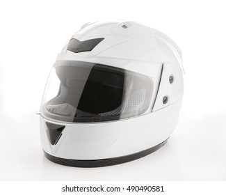 white motorcycle helmet on white background