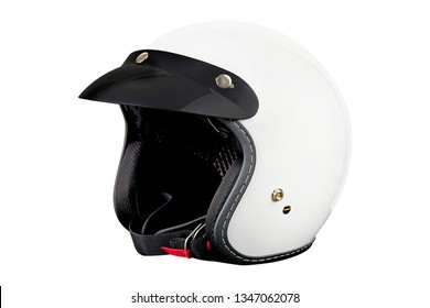 White motorcycle helmet with sun visor, Classic helmet  isolated on white background with clipping path
