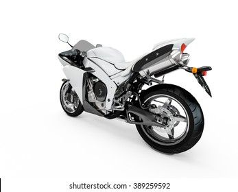 White motorcycle isolated on a white background.