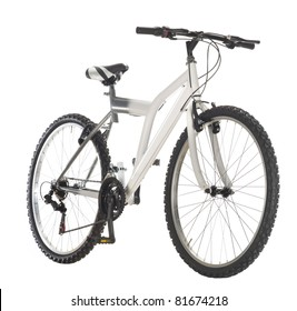 white mountain bike, front view, isolated
