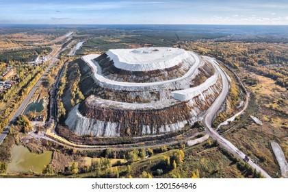 White Mountain - large open air phosphogypsum waste storage near Voskresensk, Moscow oblast, Russia