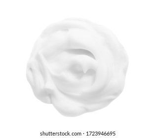White mousse swirl. Shampoo, cleanser thick creamy lather texture. Whipped cosmetic cleansing shaving gel blob swatch isolated on white background