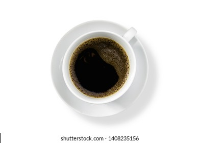 White mug of black coffee top view isolated on a white background. File contains with clipping path