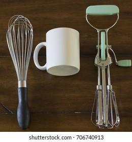 White Mug with Kitchen Tools