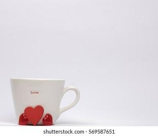 White Mug Love and love hearts