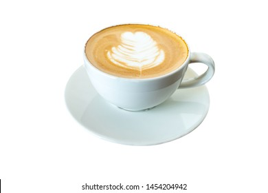 White mug of mocha coffee isolated on white background. File contains with clipping path So easy to work.