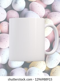 White Mug Mockup - Easter theme. Mug on a background of chocolate mini eggs. Perfect for businesses selling mugs, just overlay your quote or design on to the image.