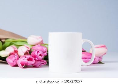 white mug mockup with pink tulips for spring