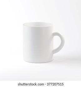 White mug on white background.