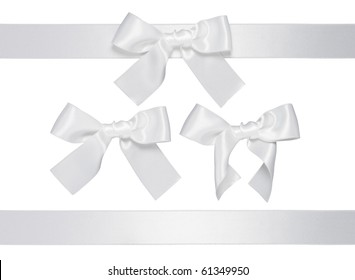 white multiple ribbon with bow isolated on white background