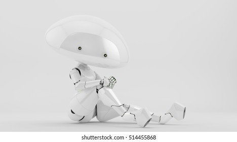 White mushroom lady robot in sexy reclining pose leaning elbow on knee, 3d illustration