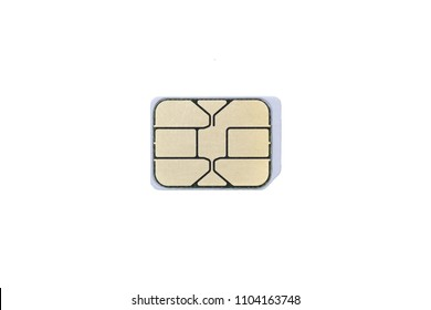 White Nano SIM Card. Isolated. Close up. Macro photo. White background