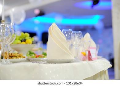white napkin on decorated festive table