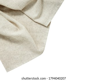 White napkin tablecloth. Dish towel isolated on white background