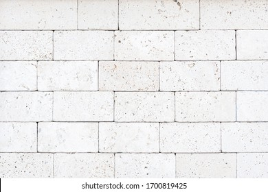 White Natural brick stone material texture background.