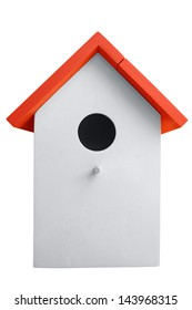 White nest box birdhouse isolated on white. Clipping path included.
