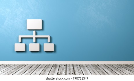 White Network Chart Symbol Shape Against Blue Wall with Copyspace 3D Illustration