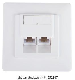 White network socket over a white background