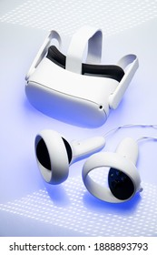 White new generation VR headset isolated on white background. Oculus Quest 2 virtual reality headset Amsterdam, the Netherlands 2021.01.01
