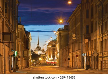 White night in St.-Peersburg, Russia. Voznesensky Avenue (Prospekt), Saint Isaac's Square and Admiralty Building in distance