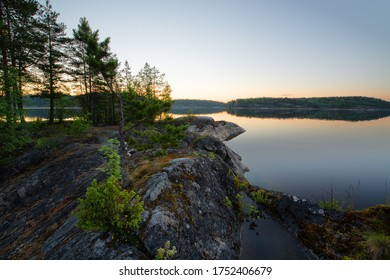White nights in skerries of a lake
