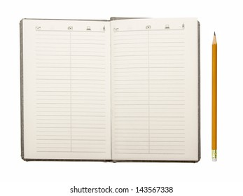 A white note book with lots of room for your text or image and a regular pencil on white background