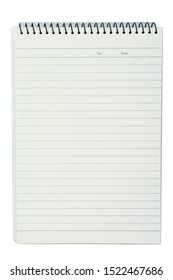 White note, notebook paper on white background.