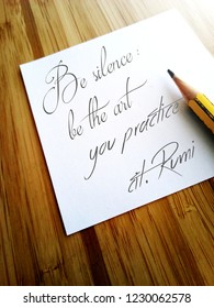 White note paper with a sentence from Rumi