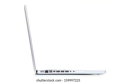 White notebook computer on a white background