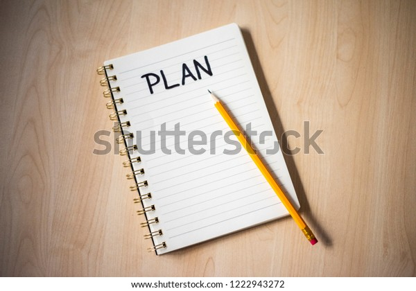 White Notebook Ideas Notes Wooden Desk Stock Photo (Edit Now