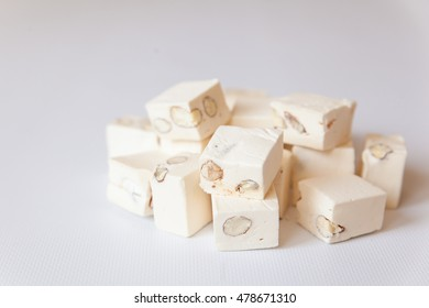 White nougat with almonds