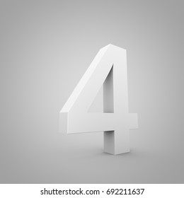 White number 4. 3D render font wide angle isolated on grey background.