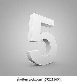 White number 5. 3D render font wide angle isolated on grey background.
