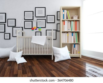 white nursery. 3d illustration