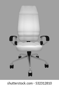 white office chair on a gray background 3d rendering