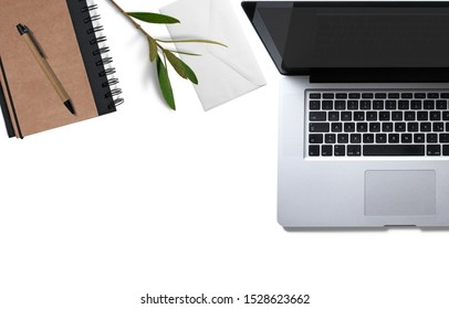 White office desk modern style with laptop computer and equipments,Flat lay, Top view with copy space.