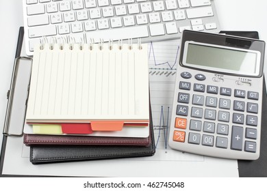 white office desk with supplies. paper with copy space