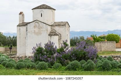 White old church in a little town in Croatia
