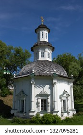 White old stone chapel in Russia