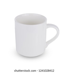White one empty mug for coffee or tea isolated on white background
