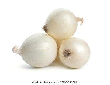 White onion bulbs isolated on white background.