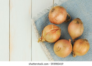 white onions on table cloth, top view