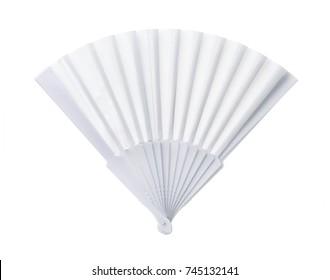 White open blank plastic fan isolated on white