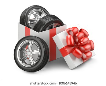 White open cardboard box gift with car tires whelles and red bow on a cap. 3d illustration isolated on a white backgound.