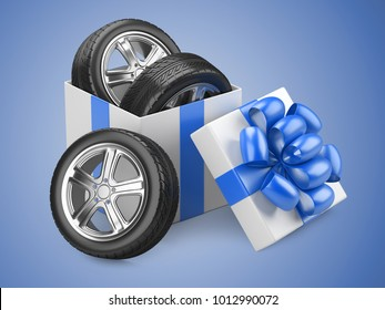 White open cardboard box gift with car tires whelles and red bow on a cap. 3d illustration isolated on a blue backgound.