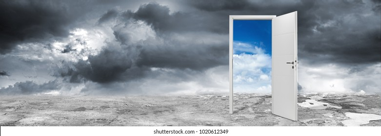white open door on abstract grey concrete floor in front of blue cloudy sky change wide panorama concept background