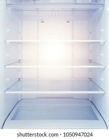 White open empty refrigerator, open fridge shelf