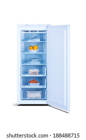 White open freezer with food