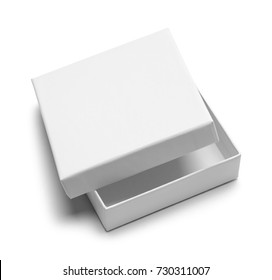White Open Gift Box Isolated on a White Background.