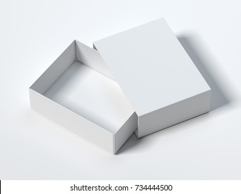 White opened box isolated on bright background. 3d rendering